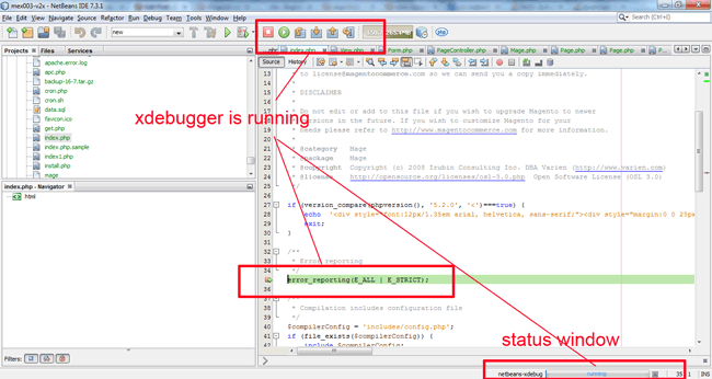 magento-and-netbeans-with-xdebugger-status-line-of-Netbeans-xdebugger-running