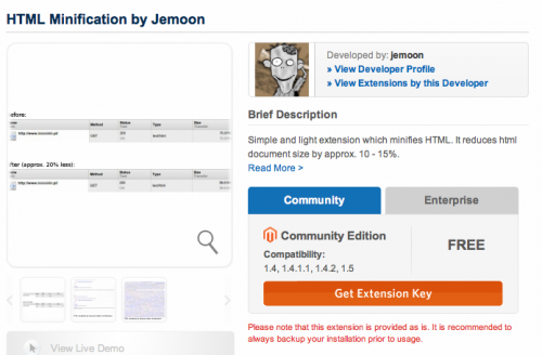 Install HTML Minification by Jemoon via Magento Connect